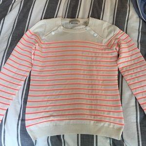 Cream and neon striped nautical sweater